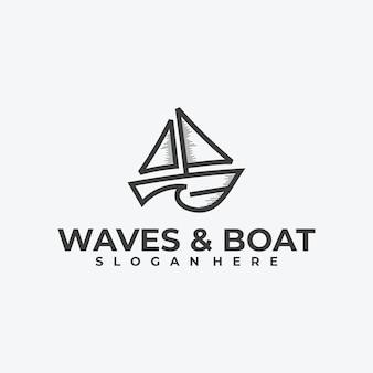 Combinação criativa de onda e logotipo de veleiro