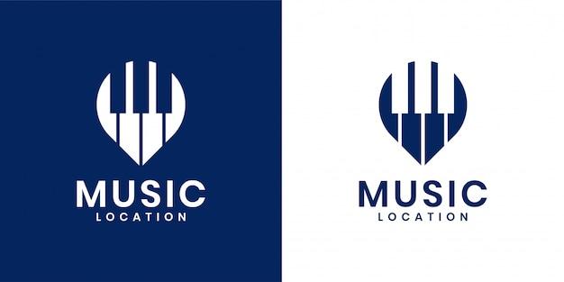 Combinação criativa de piano e logotipo de localização de pino