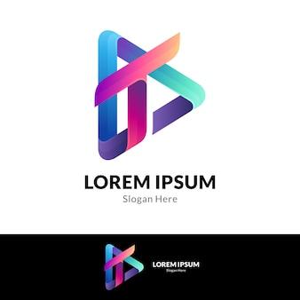 Combinação da letra t com modelo de design de logotipo do media play