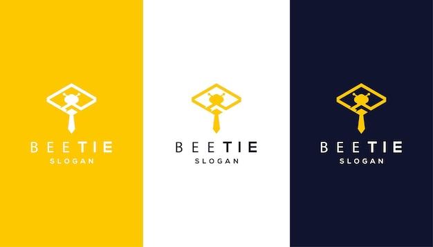 Combinação de abelha com modelo de design de logotipo de gravata