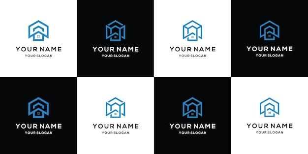 Combinação de design de casa e letra w