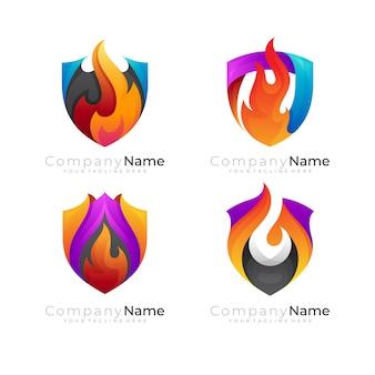 Combinação de design de escudo e fogo, estilo 3d colorido