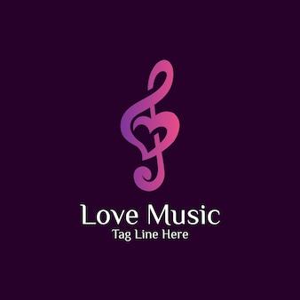Combinação de design de logotipo de amor e música