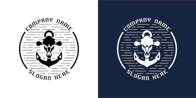 Combinação de design de logotipo de âncora com crânio de cabeça