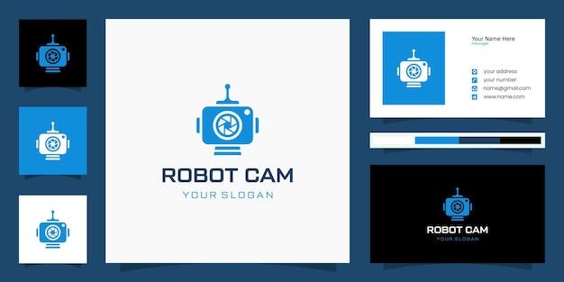 Combinação de design de logotipo de câmera e robô