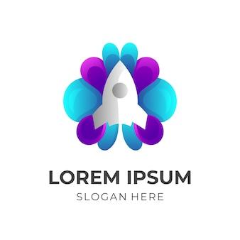 Combinação de design de logotipo de foguete de cérebro abstrato, estilo colorido 3d