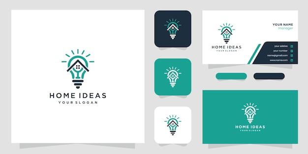 Combinação de design de logotipo de lâmpada de casa e lâmpada com estilo de linha de arte. ícones do logotipo da linha e cartão de visita