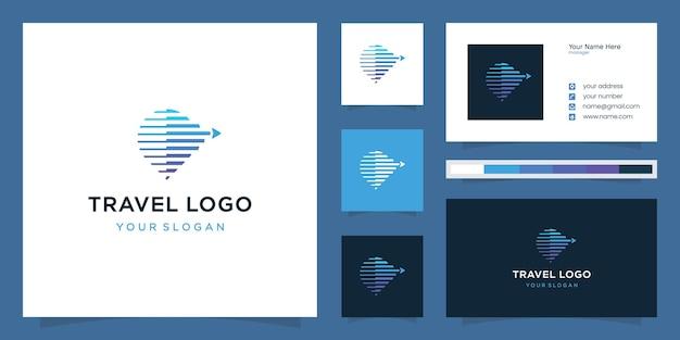 Combinação de design de logotipo de mapas de pinos e direções
