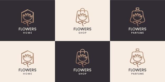 Combinação de flores com coleção de design de logotipo em forma de perfume e loja doméstica
