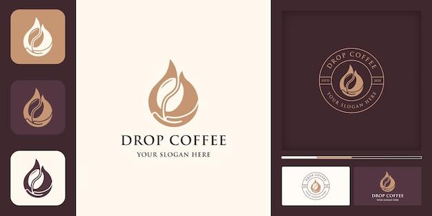 Combinação de gotejamento de café com logotipo e cartão de visita