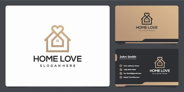Combinação de logotipo de amor em casa e cartão de visita