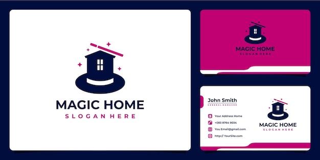 Combinação de logotipo de casa mágica e cartão de visita