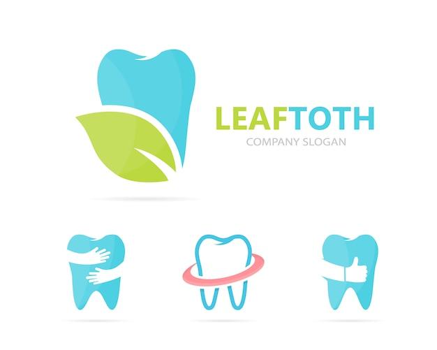 Combinação de logotipo dente e folha.
