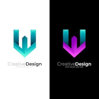 Combinação de logotipo w e design de seta