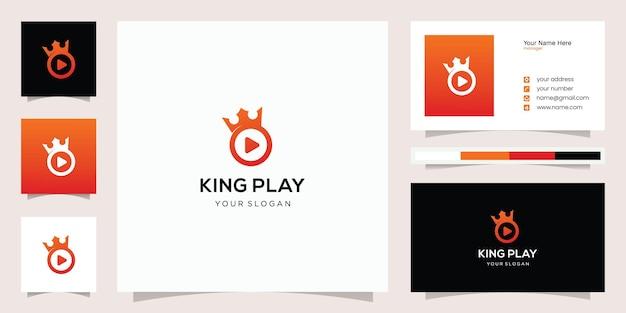 Combinação de play e king logo design