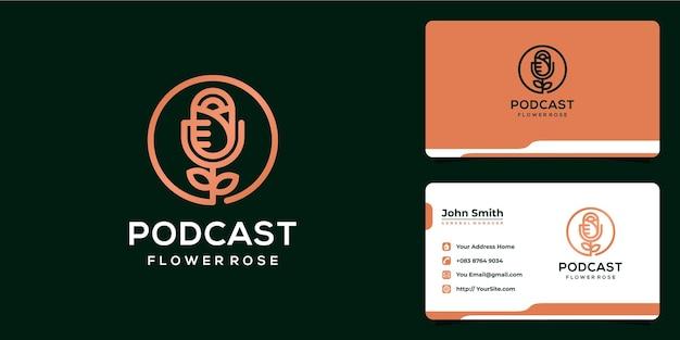 Combinação de podcast com flor de rosa design luxuoso e cartão de visita