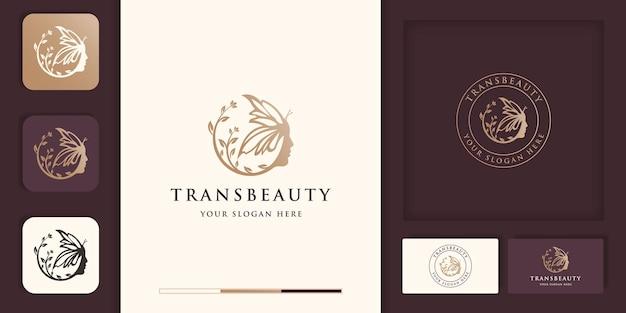 Combinação de rosto de mulher bonita com logotipo de borboleta, transformação de beleza