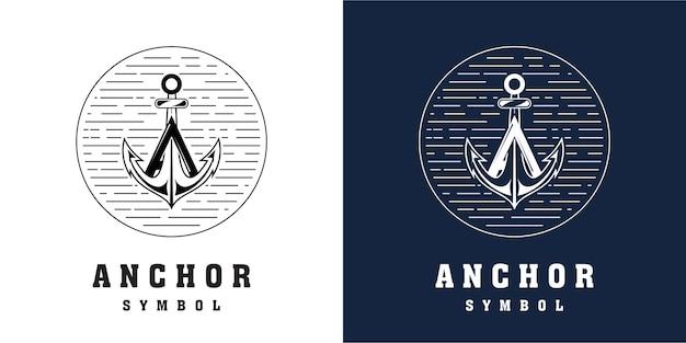 Combinação do design do logotipo da âncora com a letra a