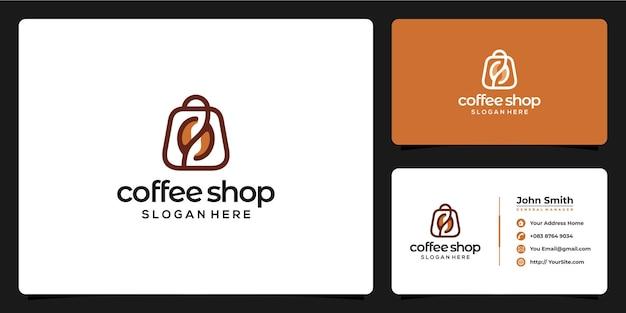 Combinação do logotipo da cafeteria e cartão de visita