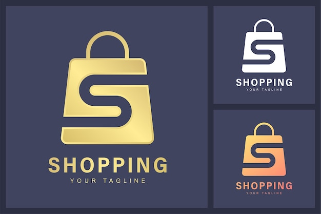 Combinação do logotipo da letra s e símbolo da sacola de compras.