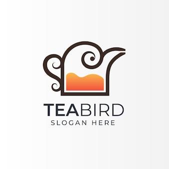 Combinação do logotipo da loja de chá ou café com arte de linha de chaleira de pássaro