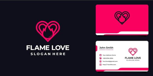 Combinação do logotipo de amor da chama e cartão de visita