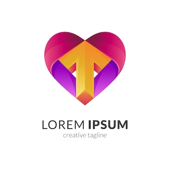 Combinação do logotipo de coração ou amor com seta