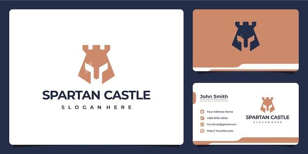 Combinação do logotipo do castelo spartan e cartão de visita