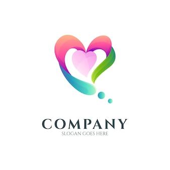 Combinação do logotipo do coração com folha e gota d'água