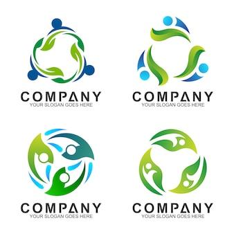 Combinação humana com design de logotipo de folha para a saúde