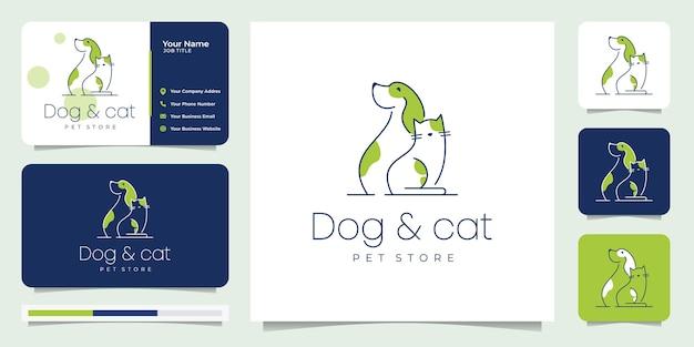 Combinação minimalista de cão e gato. pata, loja, cor. design de logotipo com cartão de visita.