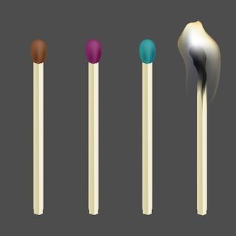 Combinação realista. conjunto de fósforos de madeira. ilustração