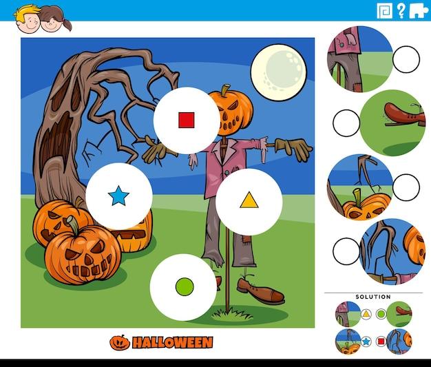 Combinar as peças da tarefa de quebra-cabeça com personagens de desenhos animados do dia das bruxas