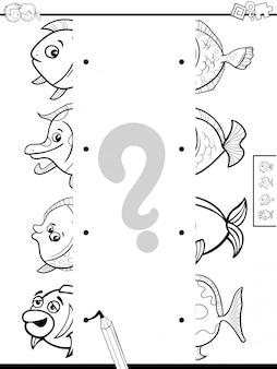 Combinar metades de fotos com livro de cor de jogo de peixe