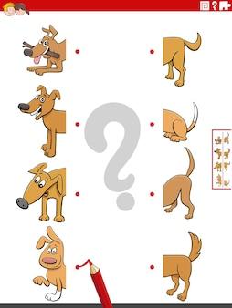 Combinar metades de imagens de desenhos animados com cães, jogo educativo