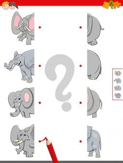 Combinar metades do jogo educacional de elefantes