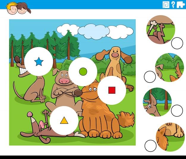 Combinar peças de quebra-cabeça com personagens de cães felizes