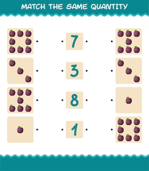 Combine a mesma quantidade de ameixa. jogo de contagem. jogo educativo para crianças e bebês antes da idade escolar