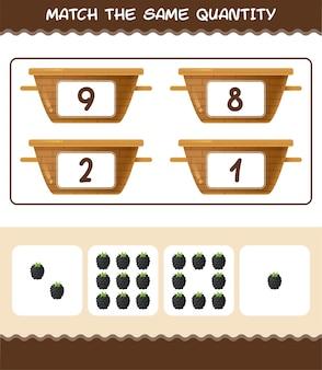 Combine a mesma quantidade de amora. jogo de contagem. jogo educativo para crianças e bebês antes da idade escolar