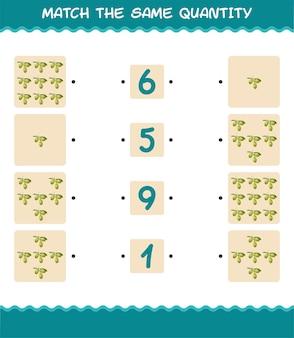 Combine a mesma quantidade de azeitona. jogo de contagem. jogo educativo para crianças e bebês antes da idade escolar