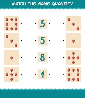 Combine a mesma quantidade de framboesa. jogo de contagem. jogo educativo para crianças e bebês antes da idade escolar