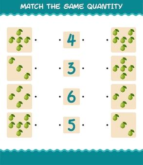 Combine a mesma quantidade de goiaba. jogo de contagem. jogo educativo para crianças e bebês antes da idade escolar