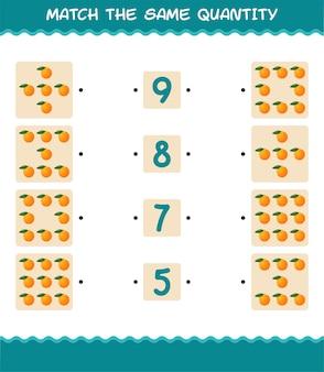 Combine a mesma quantidade de laranja. jogo de contagem. jogo educativo para crianças e bebês antes da idade escolar