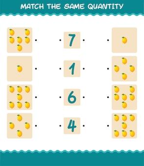 Combine a mesma quantidade de limão. jogo de contagem. jogo educativo para crianças e bebês antes da idade escolar