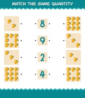 Combine a mesma quantidade de manga. jogo de contagem. jogo educativo para crianças e bebês antes da idade escolar