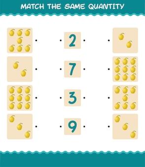 Combine a mesma quantidade de marmelo. jogo de contagem. jogo educativo para crianças e bebês antes da idade escolar