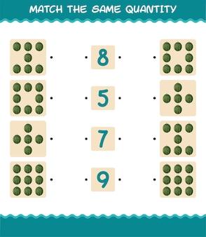 Combine a mesma quantidade de melancia. jogo de contagem. jogo educativo para crianças e bebês antes da idade escolar