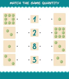 Combine a mesma quantidade de melão. jogo de contagem. jogo educativo para crianças e bebês antes da idade escolar