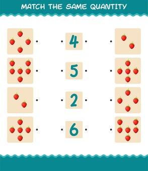 Combine a mesma quantidade de morango. jogo de contagem. jogo educativo para crianças e bebês antes da idade escolar
