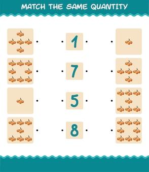 Combine a mesma quantidade de nêspera. jogo de contagem. jogo educativo para crianças e bebês antes da idade escolar